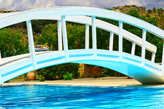 Pool bridge. At hotel in rhodes greece Stock Photography