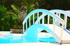 Pool bridge. At hotel in rhodes greece Stock Photos