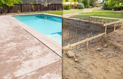 Before and After Pool Build Construction Site. And Back Yard royalty free stock image