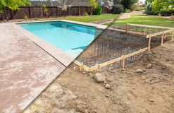 Before and After Pool Build Construction Site. And Back Yard royalty free stock photos