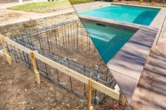 Before and After Pool Build Construction Site. And Back Yard stock photography