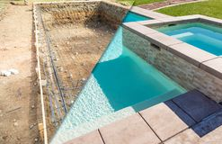 Before and After Pool Build Construction Site. And Back Yard royalty free stock photography