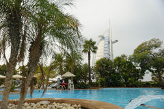Pool with Burj Al Arab in background Stock Photography