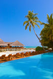 Pool and cafe on Maldives beach. Nature vacation background stock photo