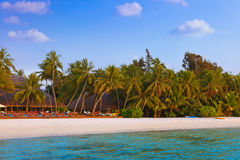 Pool and cafe on tropical Maldives island Stock Photos