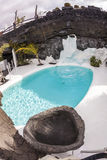 Pool in Cesar Manrique`s home in Taro de Tahiche in Lanzarote stock image
