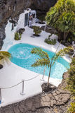 Pool in Cesar Manrique`s home in Taro de Tahiche in Lanzarote royalty free stock photo