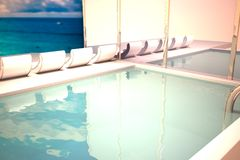 Pool with chaise longues. Near reflecting wall, 3d rendering stock illustration