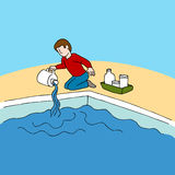 Pool Chemicals. An image of a man using pool chemicals Royalty Free Stock Images