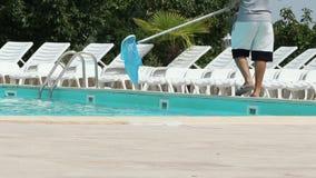 Pool Cleaner Employee stock footage