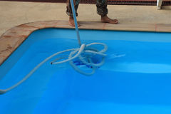 Pool cleaning maintenance Royalty Free Stock Photo