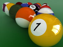 Pool close-up. Extreme close up billiard balls stock illustration
