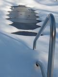 Pool Closed. Swimming pool after snowstorm, Christmas tree Royalty Free Stock Photo