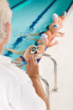 Pool coach - swimmer training competition Royalty Free Stock Image