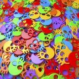 Pool of colorful cartoon skulls Royalty Free Stock Photos