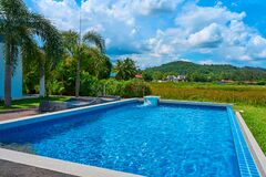 Pool in the courtyard of the cottage overlooking the mountains and fields. Vacation in a quiet, beautiful hideaway place