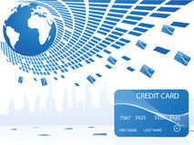 Pool of credit cards. Surrounding globe Stock Images