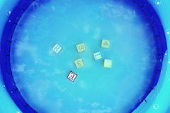 Pool and cubes. Scene pools with cubes. The image is designed in an environment 3d Stock Images