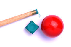 Pool cue stick, ball and chalk. Closeup of a pool cue, a red pool ball, and blue cue chalk.  White background Royalty Free Stock Photo