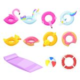 Pool Cute Kids Inflatable Floats, Vector Isolated Design Elements. Unicorn, Flamingo, Duck, Ball, Donut Icons. Stock Image