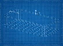 Pool 3D blueprint. Shoot of the Pool 3D blueprint stock illustration