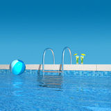 In the pool. 3d rendering showing the view to the pool ladder Royalty Free Stock Photo