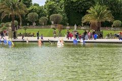 Pool in de Tuin van Luxemburg, Parijs Royalty-vrije Stock Foto's