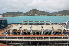 Pool Deck. A pool deck on a luxury cruise ship stock image
