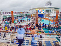 Pool Deck Activities Aboard A Cruise Ship Royalty Free Stock Photos