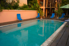 A pool deck in the caribbean Royalty Free Stock Images