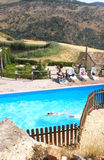 Pool deck in countryside Stock Photo