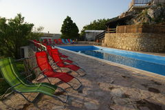 Pool deck in countryside Stock Images