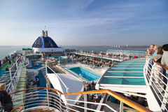Pool deck on cruise ship Royalty Free Stock Images