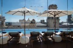 Pool deck of Gran Hotel Manzana Kempinski, Roof Top, La Habana Cuba royalty free stock photography