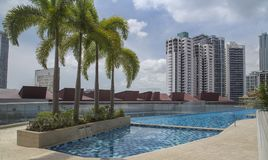 Pool on a deck of a highrise. With some highrises in the background and some palm trees in the foreground. Recorded in Panama City Stock Images