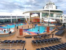 Pool deck onboard cruise ship Liberty of the Seas. Royal Caribbean International cruise line Stock Photography