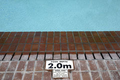 Pool depth sign Royalty Free Stock Image