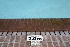 Pool depth sign royalty free stock image
