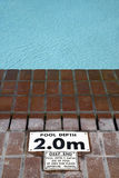 Pool depth sign Stock Image