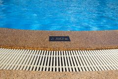 Pool depth sign. Stock Image