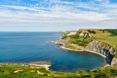 Pool des ambulanten Händlers und die Dorset-Küste stockbilder