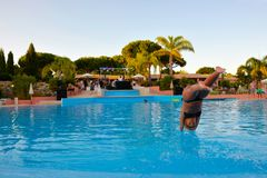 Pool Diving, Summer Party, Music DJ, Summer Holidays, Travel Portugal Stock Photo