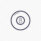 Pool eight ball line icon. Billiard game thin linear signs. Outline magic ball simple concept for websites, infographic, mobile ap Royalty Free Stock Photography