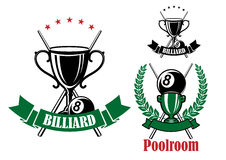 Pool emblems with trophies and balls Stock Photos