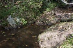 Pool en grote rotsen stock afbeelding