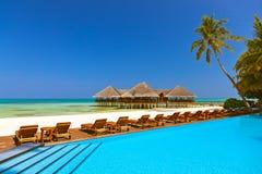 Pool en koffie op het strand van de Maldiven Stock Foto
