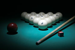 Pool equipment. Balls pyramid with number 8 ball o. Billiard. Balls pyramid fith number 8 ball on a foreground Stock Images