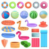 Pool equipment icons set, cartoon style. Pool equipment icons set. Cartoon set of pool equipment vector icons for web design royalty free illustration