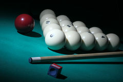 Pool equipment. Number 8 ball on a foreground. Pool. Balls pyramid with number 8 ball on a foreground Stock Photography