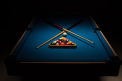Pool equipment ready for a game Royalty Free Stock Image